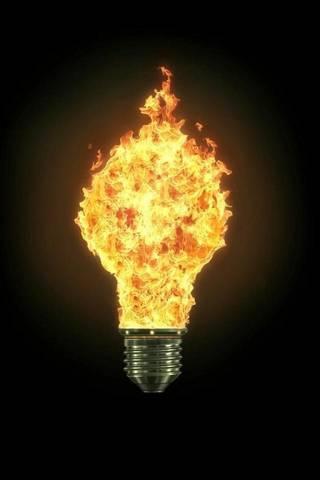Ampoule en feu